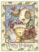Happy Holidays - Dog, Cat Fine Art Print