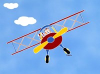 Cat In A Bi-Plane Fine Art Print