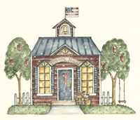 Schoolhouse With Flag Fine Art Print