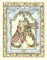 Share The Love Of Christmas Penguins Fine Art Print