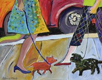 2 Women and 2 Dogs Meet on the Street Fine Art Print