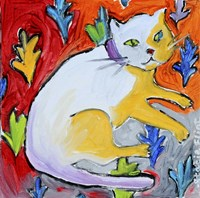 Kitty with Leaf Pattern Fine Art Print