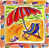 Beach Chair, Umbrella, Flip Flops Fine Art Print
