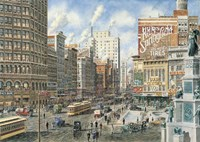 Detroit Looking North On Woodward Fine Art Print
