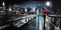 Kissing on Brooklyn Bridge II Fine Art Print