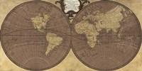 Gilded World Hemispheres II Framed Print