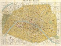 Gilded Map of Paris Fine Art Print