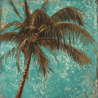Palm on Turquoise I Framed Print