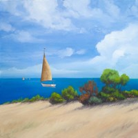 Sailboat on Coast I Fine Art Print