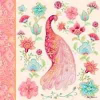 Pink Medallion Peacock I Framed Print