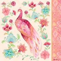 Pink Medallion Peacock II Framed Print