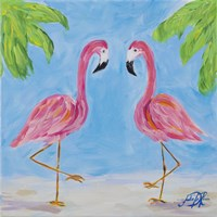 Fancy Flamingos III Fine Art Print
