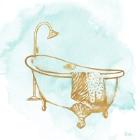 Le Tub on Teal I Framed Print