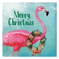 Christmas Flamingo Text Fine Art Print