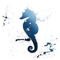 Seahorse Splatter Indigo Fine Art Print