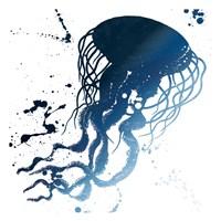 Jellyfish Splatter Indigo Fine Art Print