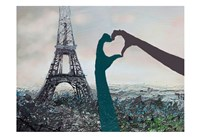 His And Her Love For Paris Fine Art Print