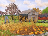 Pumpkins And Cornstalks Fine Art Print