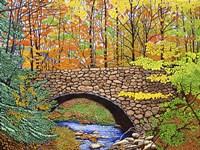 Stone Bridge, Allegany State Park, Ny Fine Art Print
