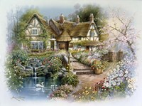 Cottage Scene With Swan Fine Art Print