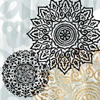 Rosettes on Aqua I Fine Art Print