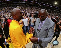 Kobe Bryant & Magic Johnson before Bryant's final NBA game-Staples Center- April 13, 2016 Fine Art Print