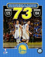 The Golden State Warriors set the NBA All-Time record for wins in a season at 73- April 13, 2016 Fine Art Print