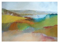 Green, Yellow and Rose Landscape Fine Art Print