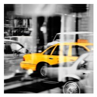 Yellow Taxi Reflection Fine Art Print