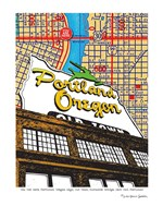 Oregon Map Sign Old Town Portland Fine Art Print