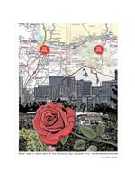 Mt. Hood and Portland Skyline with Rose Fine Art Print