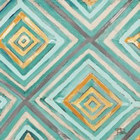 Coastal Ikat with Gold I Fine Art Print