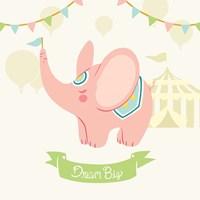 Little Circus Elephant Pastel Fine Art Print