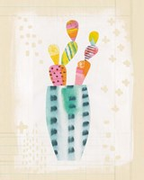 Collage Cactus I on Graph Paper Fine Art Print