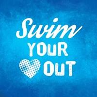 Swim Your Heart Out - Blue Vintage Fine Art Print