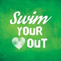 Swim Your Heart Out - Green Vintage Fine Art Print