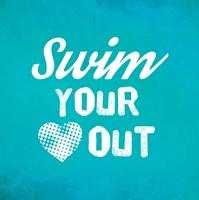 Swim Your Heart Out - Teal Vintage Fine Art Print