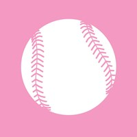 White Softball on Baby Pink Fine Art Print