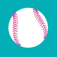 White Softball on Teal Fine Art Print