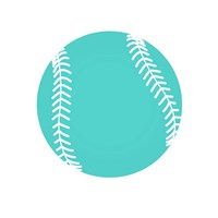 Teal Softball on White Fine Art Print