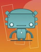 Retro Robot Aqua Fine Art Print