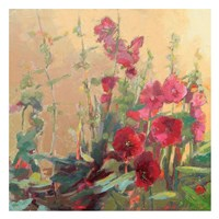 Red Haven Hollyhocks Fine Art Print