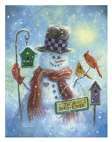 Birds Lover Snowman Fine Art Print