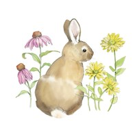 Wildflower Bunnies I Sq Framed Print