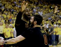 Lebron James & Kevin Love celebrate winning Game 7 of the 2016 NBA Finals Fine Art Print