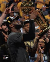 Lebron James with the NBA Championship Trophy Game 7 of the 2016 NBA Finals Fine Art Print