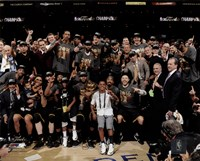 The Cleveland Cavaliers celebrate winning Game 7 of the 2016 NBA Finals Framed Print