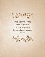 Psalm 136:26, Give Thanks (Beige) Fine Art Print
