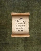 Psalm 136:26, Give Thanks (Scroll on Olive Border) Fine Art Print
