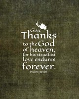 Psalm 136:26, Give Thanks (Olive Border) Fine Art Print